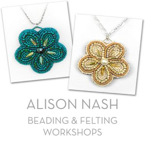 Alison Nash Workshops in bead embroidery, felting and mosaic skills.