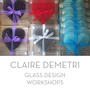 Claire Demetri offers one to one, one to two and larger workshops to pass on her skills in designing with fused glass.