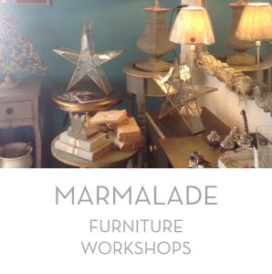 Marmalade offers workshops by arrangement to teach about the repurposing of furniture and painting techniques.