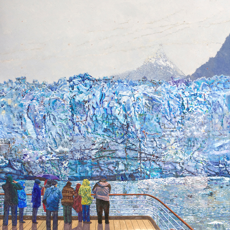 "Peter Matthews Glacier, Alaska Bay painting for his exhibition ""New Paintings"" at Fisherton Mill starting on the 26th May 2018."