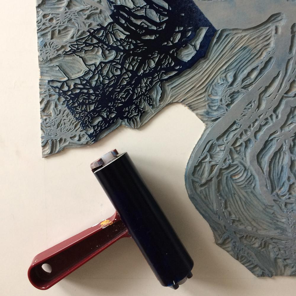 Gemma Dunn linocut image for printmaking workshop
