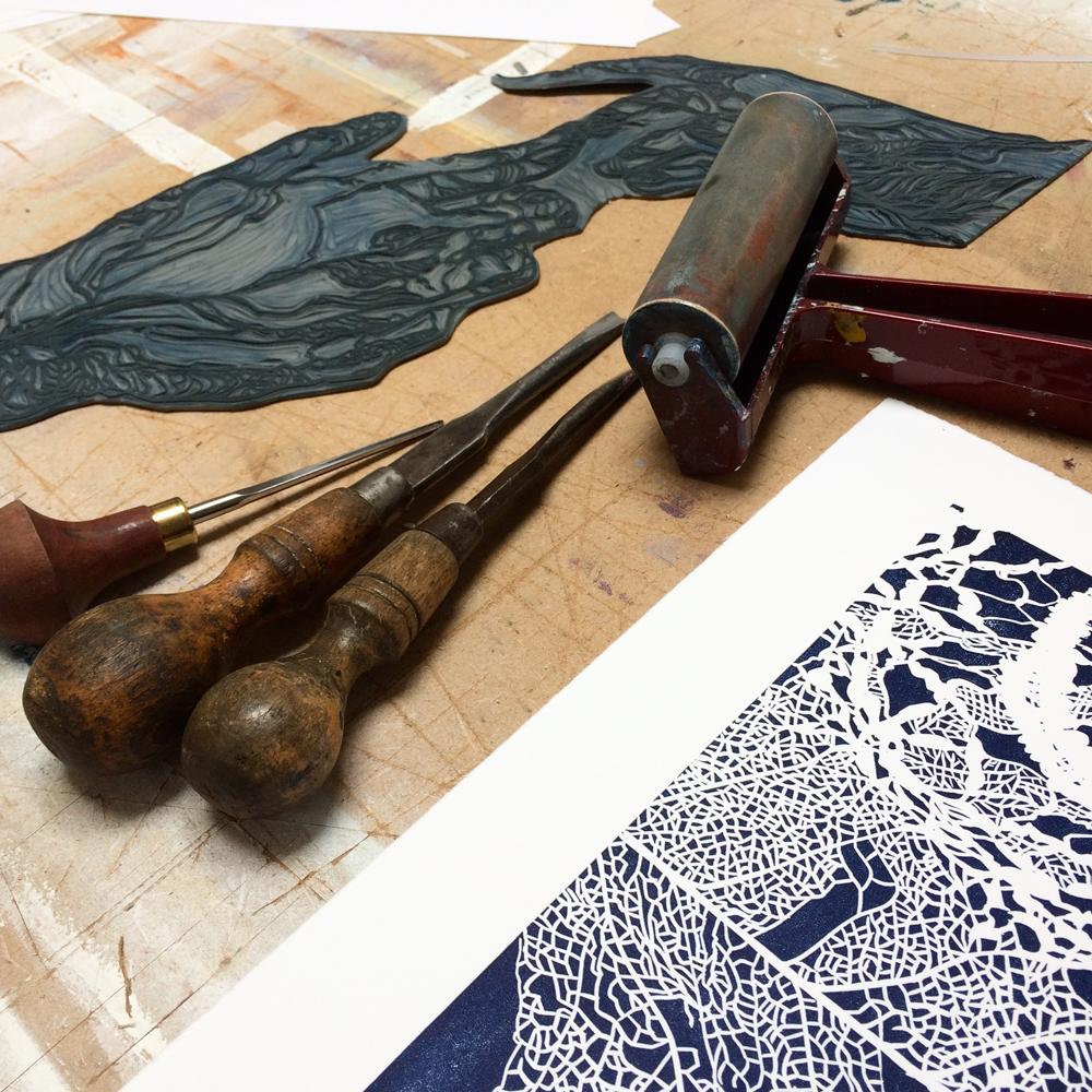 Gemma Dunn Printmaking Workshop Linocuts