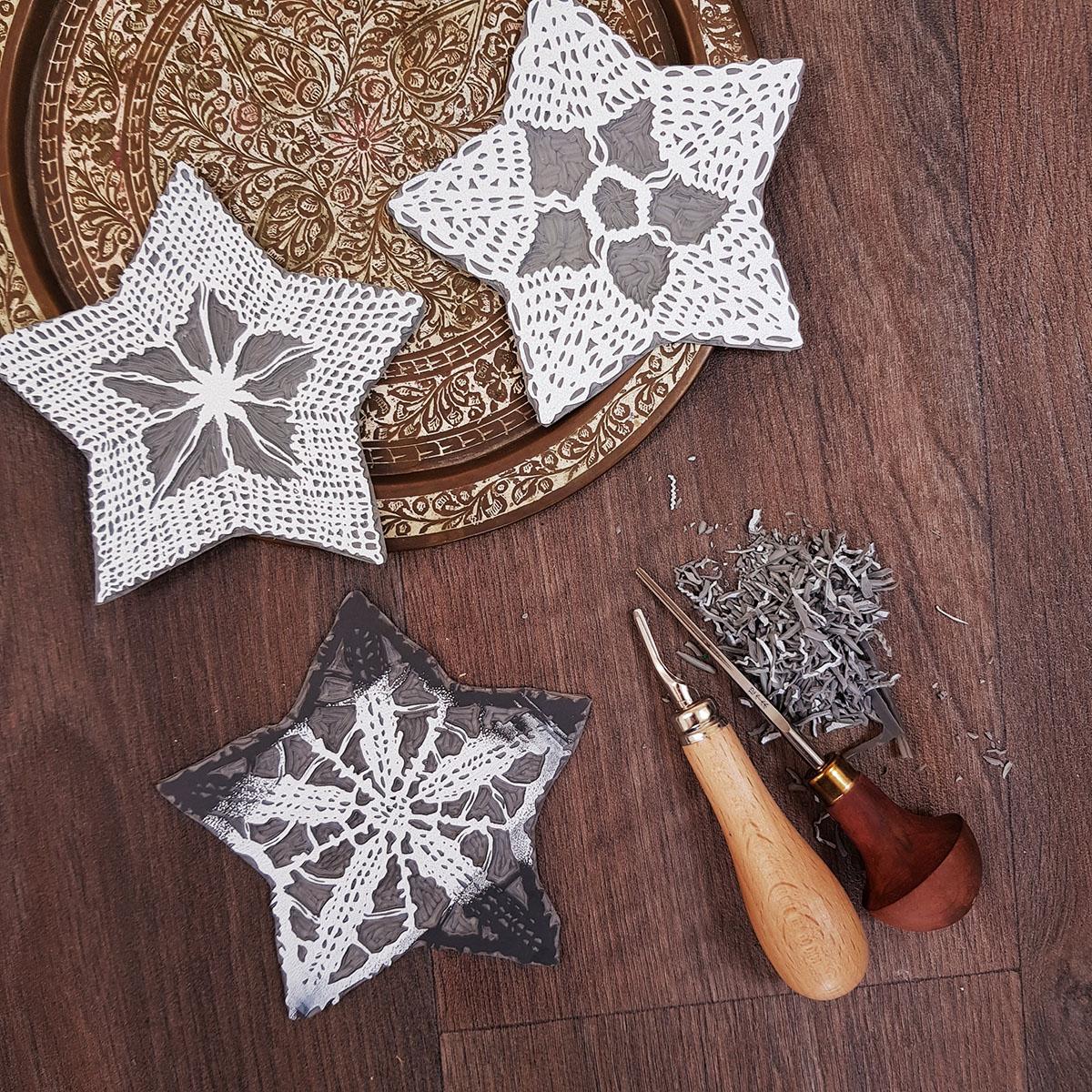 Gemma Dunn Christmas linoprinting image for cards 1