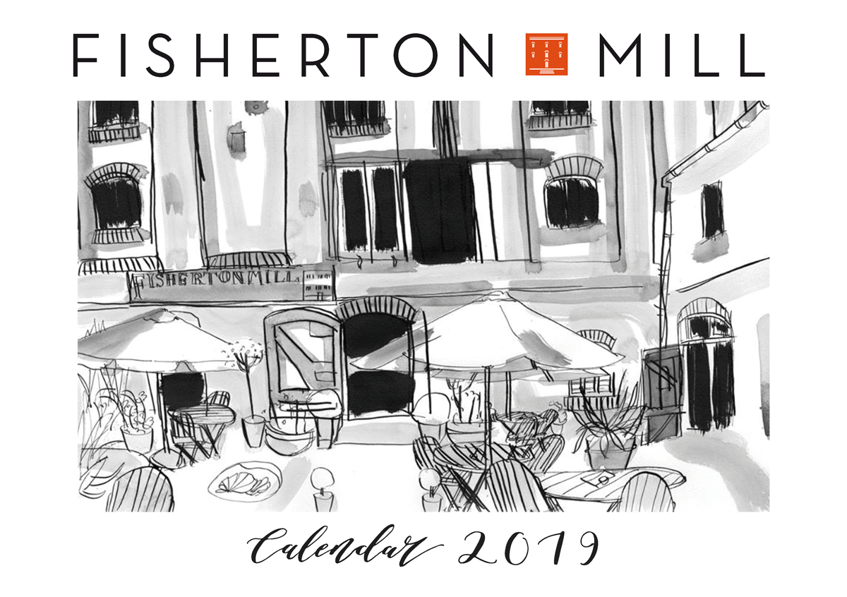 Front cover of Fisherton Mill's Calendar for 2019 including the work of 13 artists who show regularly in the Gallery.