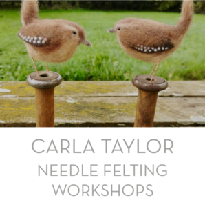 Carla Taylor of the Mousehole Woolery teachers the skills of needle felting in her series of workshops and is happy to have people of all ages and abilities attend.